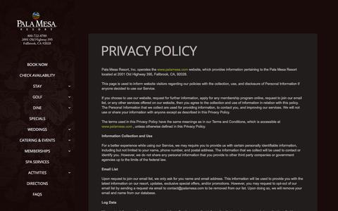 Screenshot of Privacy Page palamesa.com - Privacy Policy     Pala Mesa Resort   San Diego Resort   Temecula Resort   Fallbrook Resort Fallbrook Hotel Temecula Hotel - captured Sept. 26, 2018