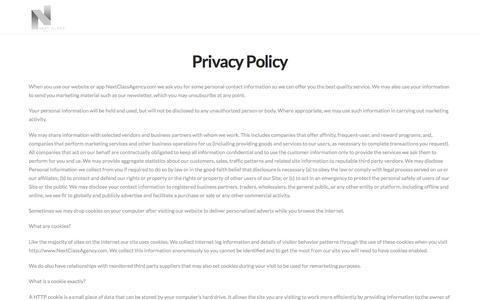 Screenshot of Privacy Page nextclassagency.com - Privacy Policy | Next Class Agency - captured Aug. 16, 2016