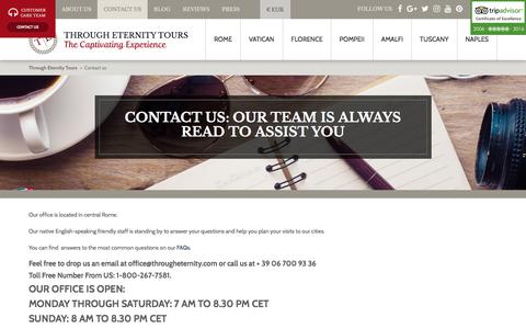 Screenshot of Contact Page througheternity.com - Customer Care Team | Through Eternity Tours - captured June 24, 2017