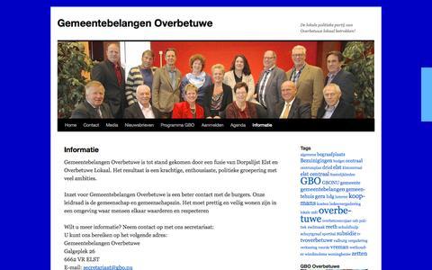 Screenshot of About Page gbo.nu - Informatie | Gemeentebelangen Overbetuwe - captured Oct. 2, 2014