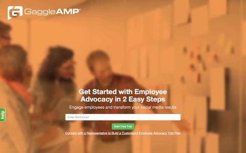 Screenshot of Signup Page gaggleamp.com - Get Started with Employee Advocacy  GaggleAMP - captured April 16, 2016
