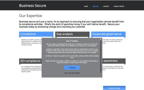 Screenshot of Services Page business-secure.com - View our range of compliance services that we offer - captured Oct. 11, 2017