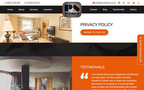 Screenshot of Privacy Page prostrokes.co.uk - Privacy Policy | Pro Strokes - captured Sept. 29, 2018