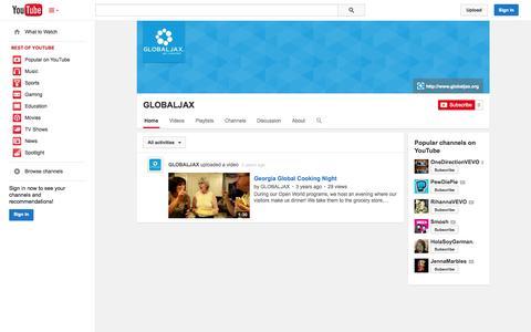 Screenshot of YouTube Page youtube.com - GLOBALJAX  - YouTube - captured Oct. 22, 2014