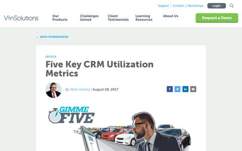 Screenshot of Blog vinsolutions.com - VinSolutions - Blog - Five Key CRM Utilization Metrics You Need to Know - captured Dec. 3, 2019