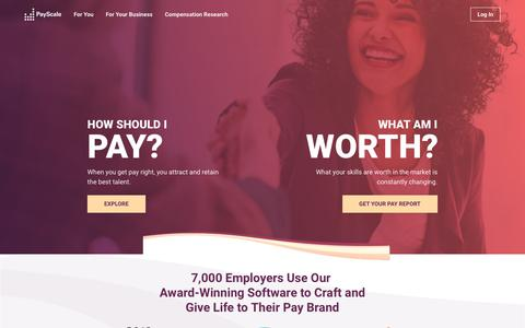 Screenshot of Home Page payscale.com - PayScale - Salary Comparison, Salary Survey, Search Wages - captured Oct. 20, 2018