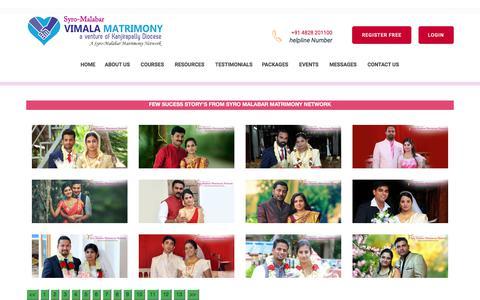 Screenshot of Testimonials Page vimalamatrimony.com - Diocese Kanjirappally   Matrimony Vimala -Success Stories in Syro-Malabar Matrimony - Catholic Matrimony, Christian Matrimony, Kerala Catholic Matrimonial - captured Sept. 24, 2018