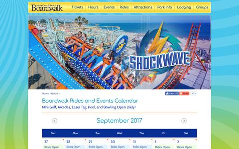 Screenshot of Hours Page beachboardwalk.com - Santa Cruz Beach Boardwalk Hours - Rides and Events Calendar - captured Sept. 29, 2017