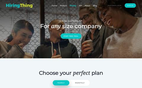 Screenshot of Pricing Page hiringthing.com - HiringThing Recruiting Software | Plans & Pricing - captured Nov. 22, 2018
