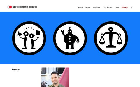 Screenshot of eff.org - Aaron Jue | Electronic Frontier Foundation - captured May 22, 2017