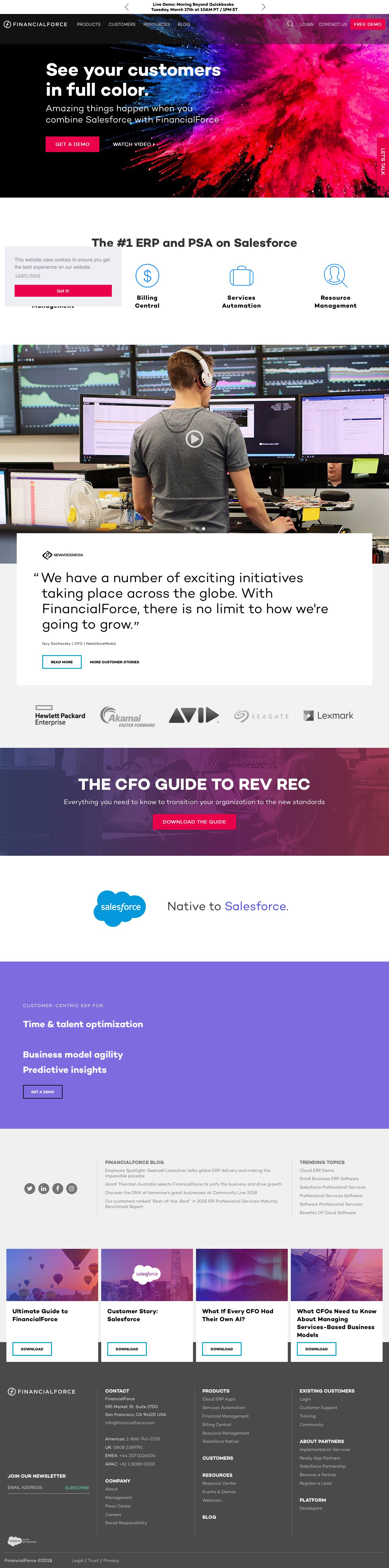 Screenshot of financialforce.com - Cloud ERP Software Apps on the Salesforce Platform - captured March 23, 2018