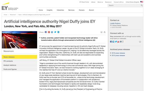 Screenshot of Press Page ey.com - News - Artificial intelligence authority Nigel Duffy joins EY - EY - United States - captured Sept. 2, 2017