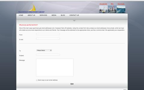 Screenshot of Contact Page tailwinddiscoverygroup.com - Contact Us - captured Oct. 9, 2014