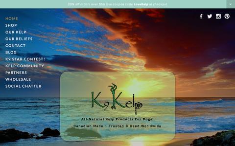 Screenshot of Home Page k9kelp.ca - K9 Kelp - captured Sept. 30, 2014
