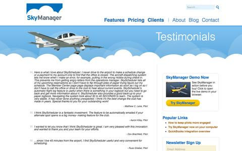 Screenshot of Testimonials Page skymanager.com - Testimonials - captured Oct. 26, 2014