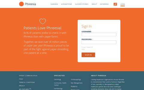 Screenshot of Login Page phreesia.com - Login — Phreesia.com - captured July 20, 2014
