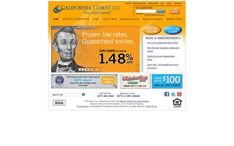 Screenshot of Home Page About Page Privacy Page Contact Page Press Page Terms Page calcoastcu.org - California Coast Credit Union - captured Sept. 25, 2014