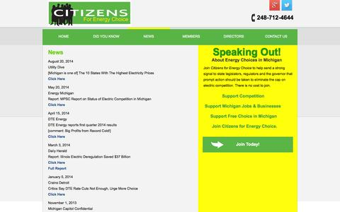 Screenshot of Press Page citizensforenergychoice.com - Citizens for Energy Choice - News About Energy Choices in Michigan - captured Sept. 29, 2014