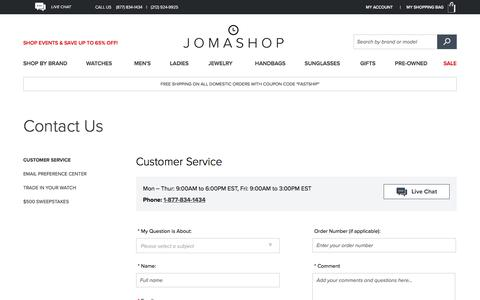 Screenshot of Contact Page Support Page jomashop.com - Customer Service  - Jomashop - captured Oct. 16, 2017