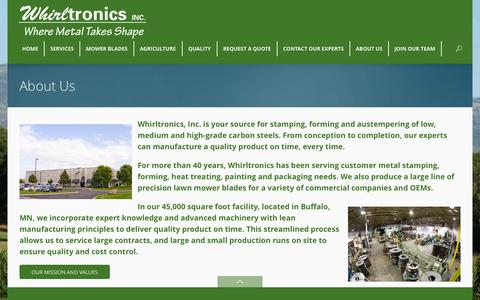 Screenshot of About Page whirltronics.com - Metal Stamping, Forming & Austempering | Mower Blades & Ag Parts | Whirltronics Inc.Whirltronics Inc. - captured Oct. 26, 2014