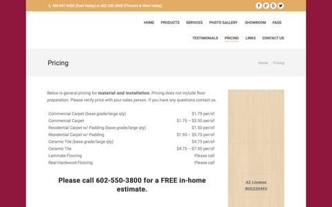 Screenshot of Pricing Page abelfloors.com - Pricing - captured Oct. 2, 2018