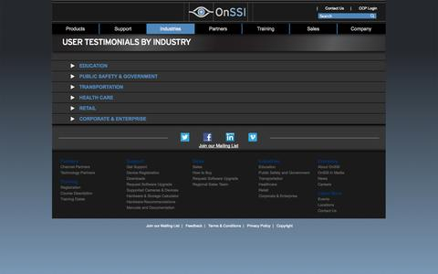 Screenshot of Testimonials Page onssi.com - User Testimonials by Industry - captured Oct. 26, 2014