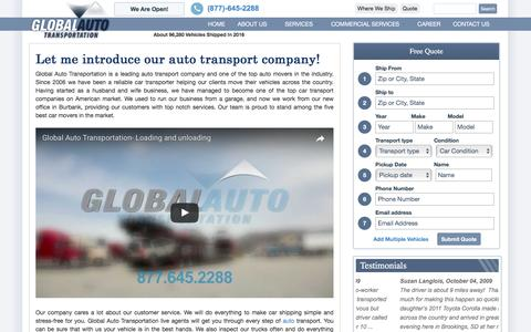 Screenshot of About Page globalautotransportation.com - About Company | Global Auto Transportation | (877)-645-2288 - captured May 18, 2017