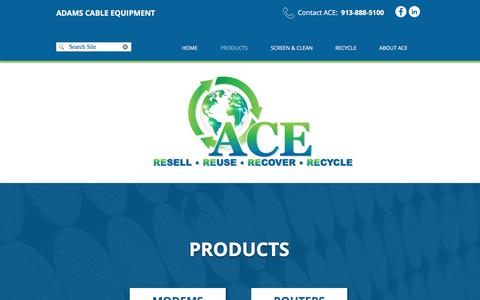 Screenshot of Products Page adamscableequipment.com - ACE | Products | United States - captured July 29, 2018