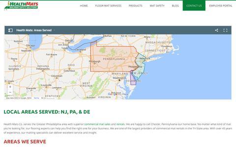 Screenshot of Locations Page healthmats.com - Local Areas Served: NJ, PA, & DE - captured Nov. 5, 2016