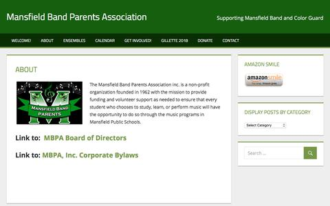 Screenshot of About Page mansfieldbandparents.org - About – Mansfield Band Parents Association - captured June 14, 2018