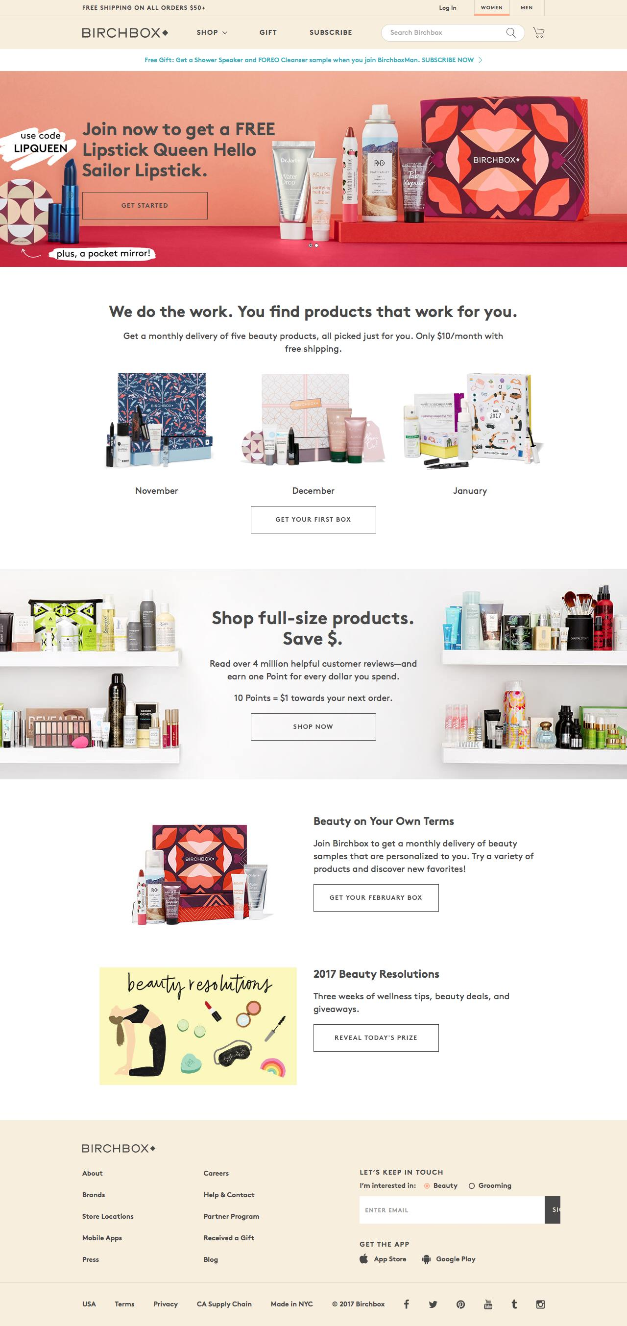 Screenshot of birchbox.com - Birchbox subscription: Monthly makeup, skincare, and haircare samples. Buy with confidence. - captured Jan. 27, 2017