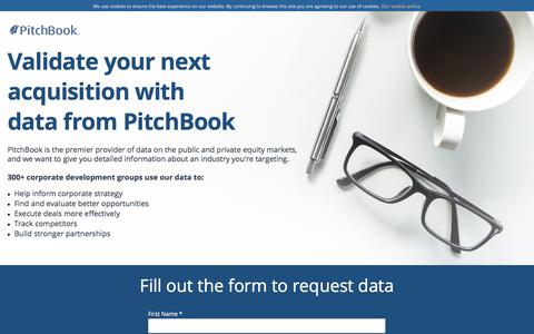 Screenshot of Landing Page pitchbook.com - Validate your next  acquisition with data from PitchBook - captured Sept. 22, 2017