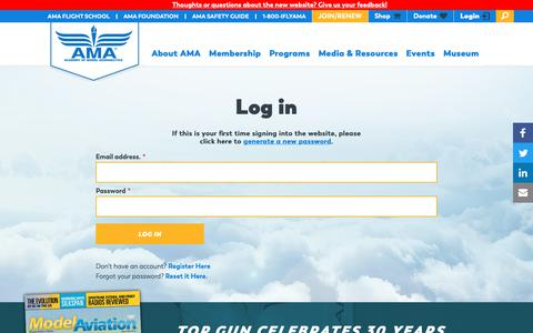 Screenshot of Login Page modelaircraft.org - Log in | Academy of Model Aeronautics - captured Oct. 1, 2018