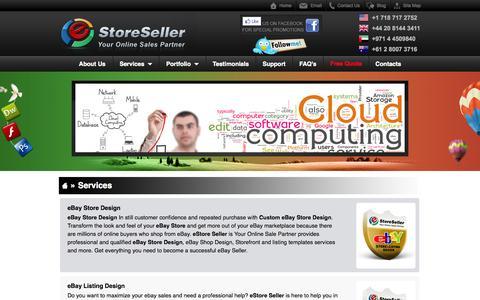 Screenshot of Services Page estoreseller.com - eBay Store Design-Amazon Webstore Design-Magento Store Design-F-Commerce - captured Sept. 23, 2014