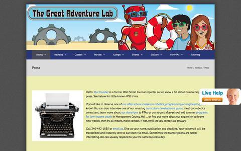 Screenshot of Press Page thegreatadventurelab.com - Press - The Great Adventure Lab - captured Oct. 7, 2017