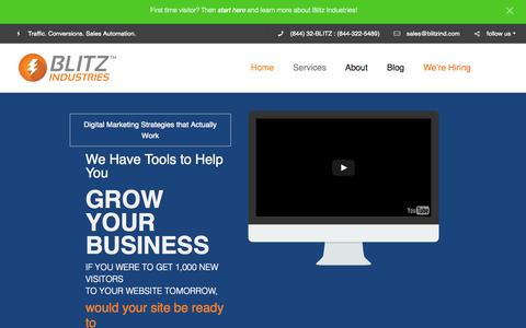 Screenshot of Home Page blitzindustries.com - Digitial Marketing Strategies That Actually Work - Blitz Ind. - captured Sept. 30, 2015