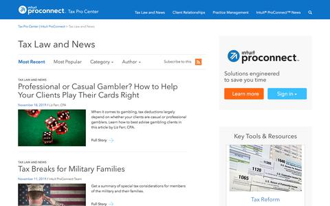 Screenshot of Press Page intuit.com - Tax Pro Center | Intuit ProConnect • Tax Law and News - captured Nov. 21, 2019