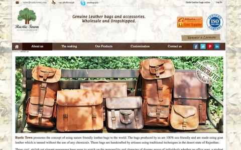 Screenshot of About Page rustictown.com - Wholesalers of Vintage Leather Bags - captured Sept. 24, 2014