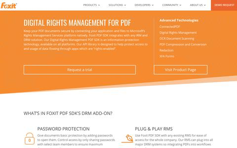 Screenshot of Developers Page foxitsoftware.com - Digital Rights Management - Foxit Developers   PDF SDK technology - captured Jan. 3, 2019
