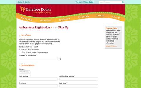 Screenshot of Signup Page barefootbooks.com - Barefoot Books :: Starter Kit - captured May 31, 2017