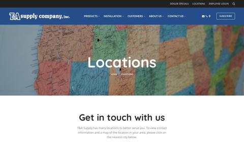 Screenshot of Locations Page tasupply.com - Locations - T&A Supply - captured Sept. 24, 2018