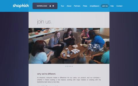 Screenshot of Jobs Page shopkick.com - shopkick  | join us - captured Sept. 12, 2014