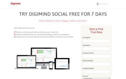 Screenshot of Trial Page digimind.com - Digimind Free trial - captured Jan. 7, 2016
