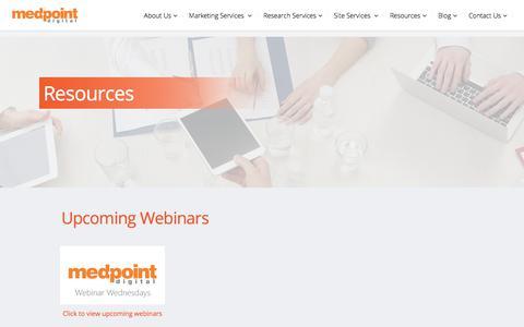 Screenshot of Case Studies Page medpt.com - Resources | MedPoint Digital - captured Oct. 18, 2017