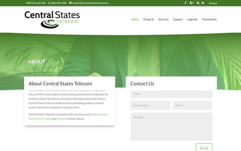 Screenshot of About Page centralstatestelecom.com - About – Central States Telecom - captured Sept. 27, 2018