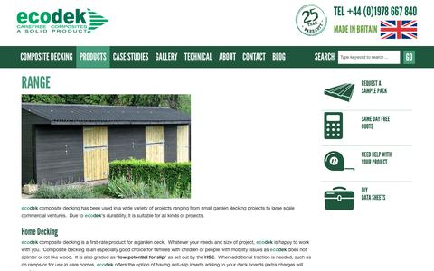 Screenshot of Products Page ecodek.co.uk - Range of Uses for Composite Decking - ecodek - captured June 24, 2017