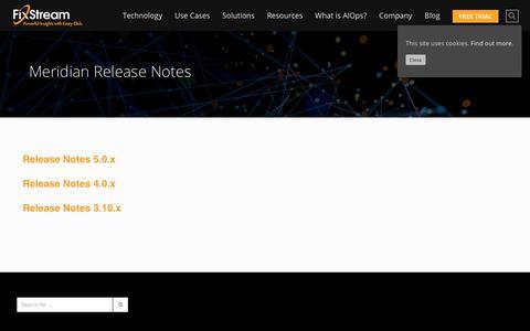 Screenshot of Support Page fixstream.com - Meridian Release Notes » FixStream - captured Oct. 10, 2018