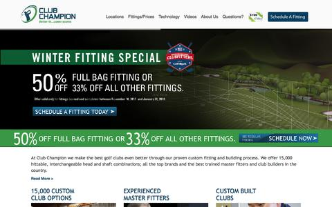 Screenshot of Home Page clubchampiongolf.com - Custom Golf Clubs & Golf Club Fitting | Club Champion Golf - Club Champion Golf - captured Jan. 28, 2016