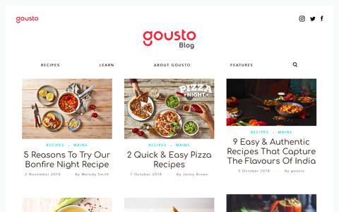 Screenshot of Blog gousto.co.uk - Food Blog - Cooking Ideas & Kitchen Hacks from Gousto - captured Nov. 3, 2018