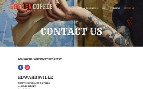 Screenshot of Contact Page Locations Page goshencoffee.com - Contact Us — Goshen Coffee - captured July 17, 2016